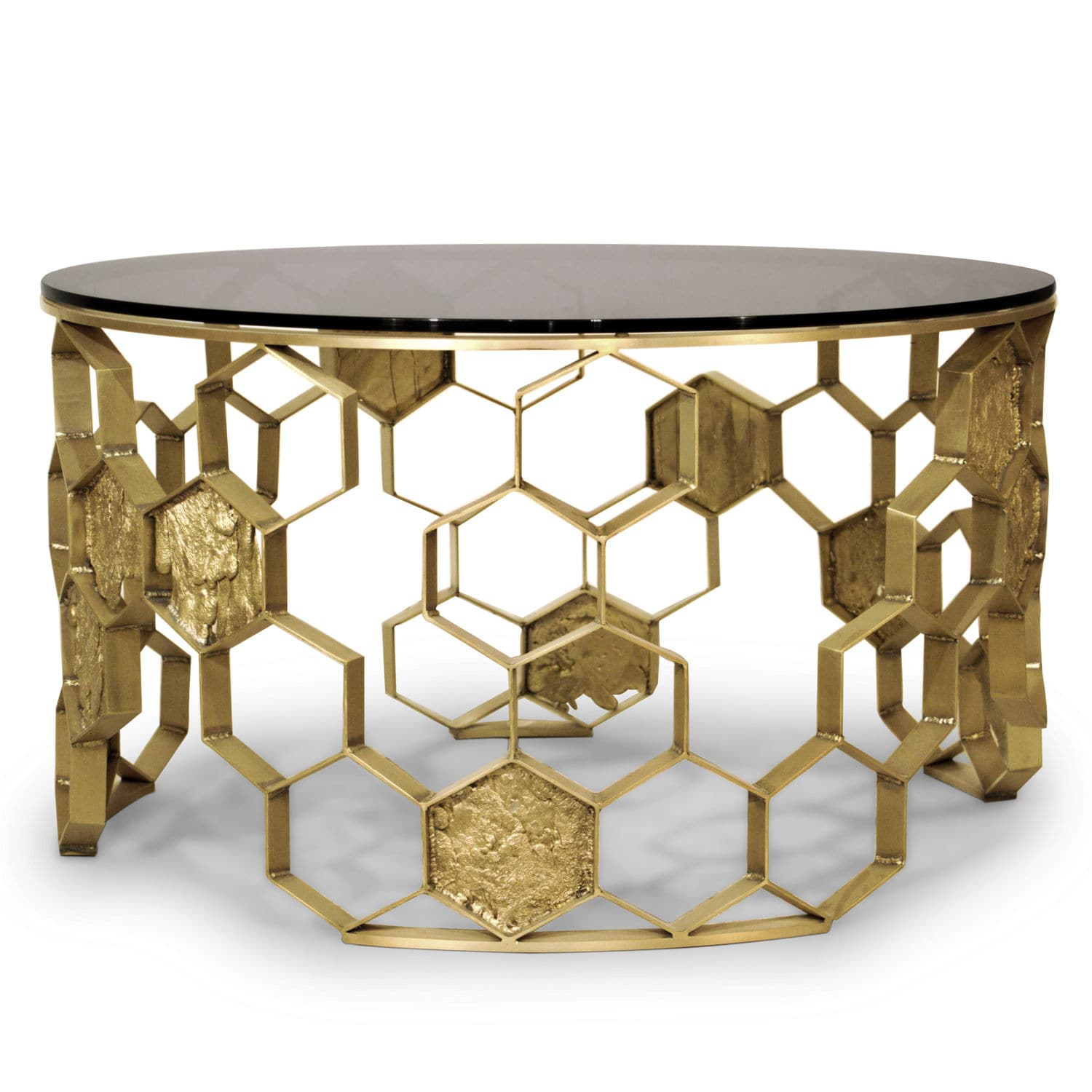 Superieur Contemporary Coffee Table / Glass / Brass / Round   MANUKA
