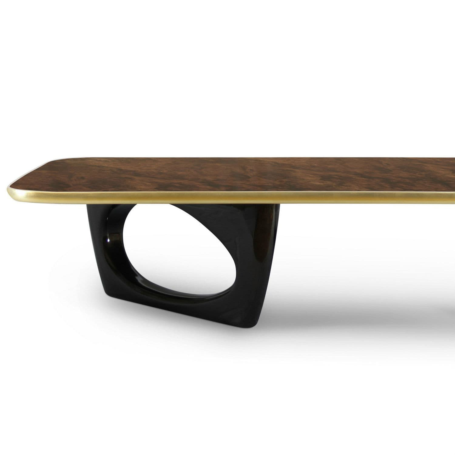 Contemporary coffee table walnut lacquered wood wood veneer