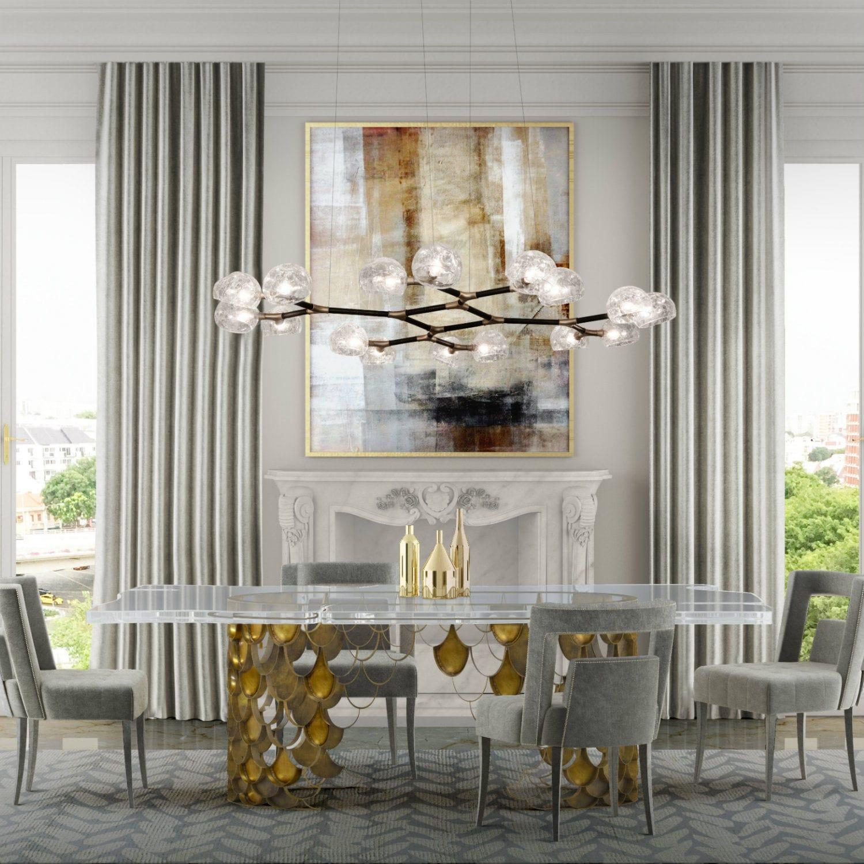 Contemporary dining table brass acrylic rectangular KOI II