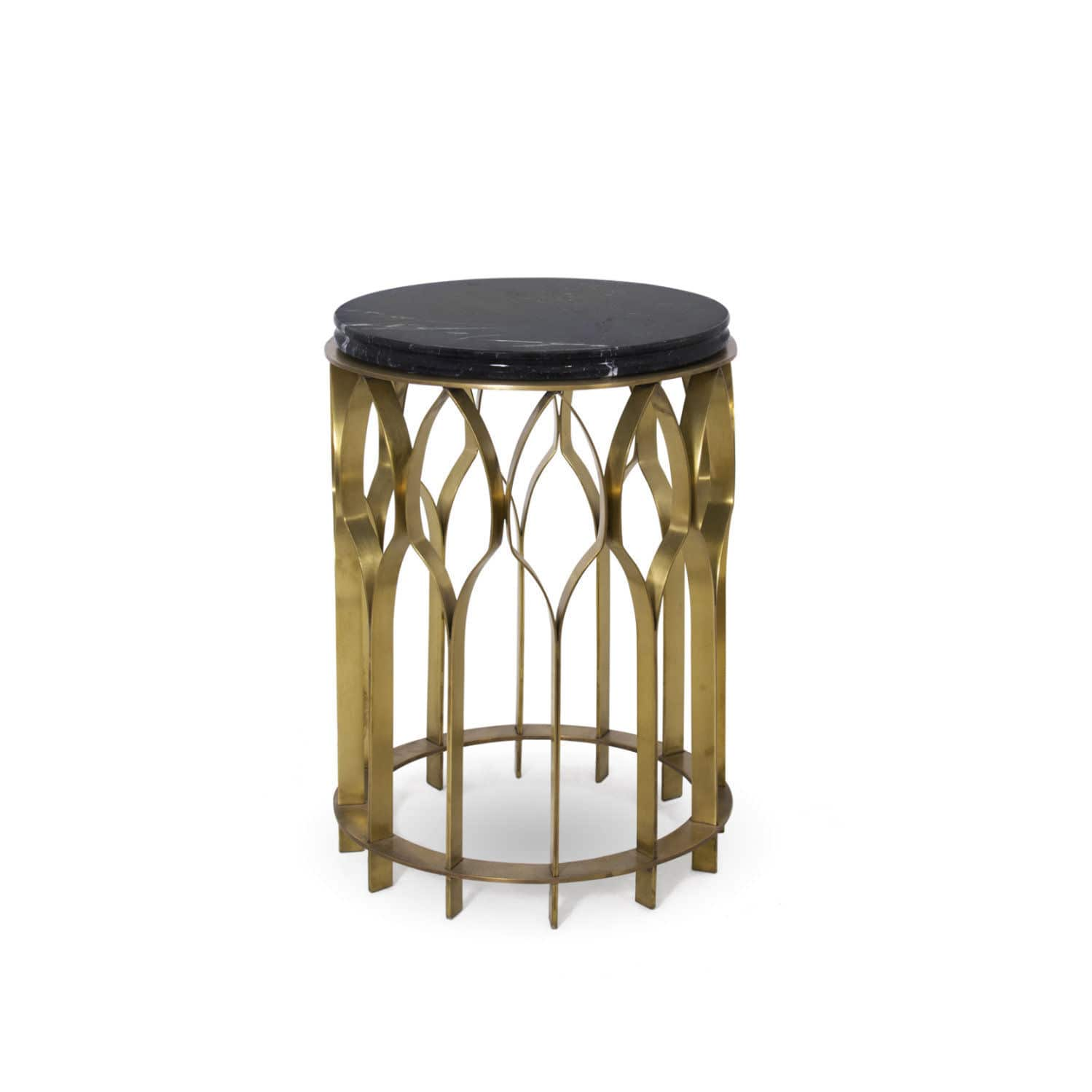 Contemporary Side Table / Brass / Marble / Round   MECCA