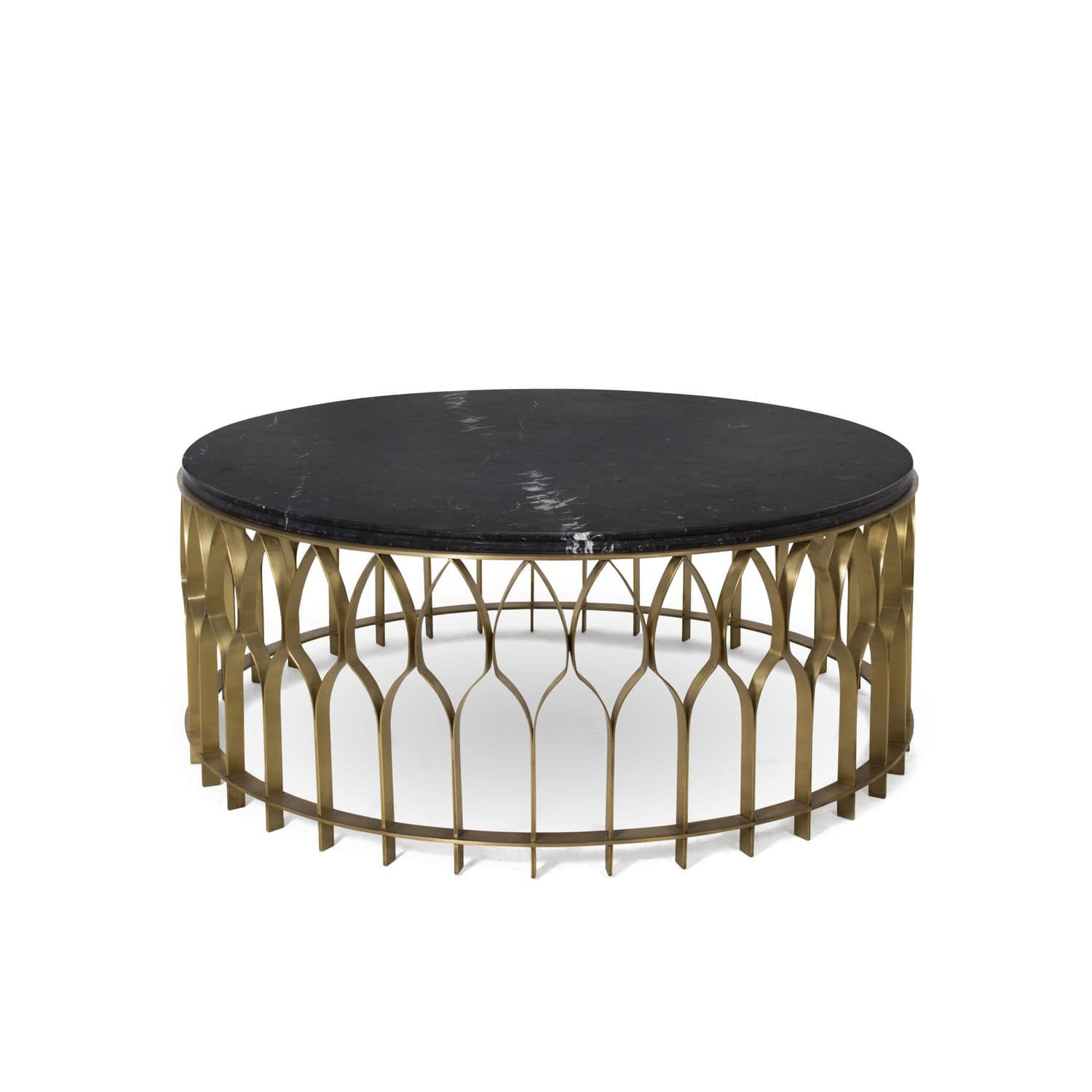 Contemporary coffee table brushed brass marble round MECCA