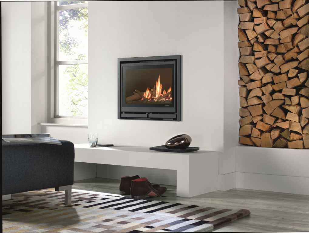 Gas fireplace / contemporary / closed hearth / 3-sided - SQUARE ...