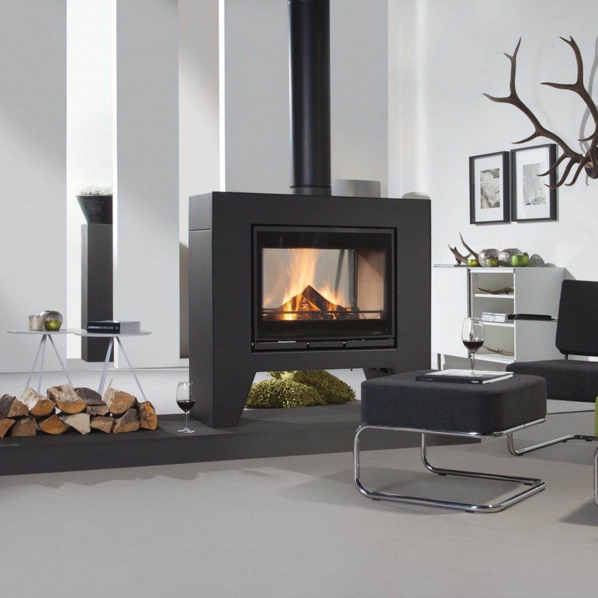 Wood Heating Stove Contemporary Double Sided Metal Jules