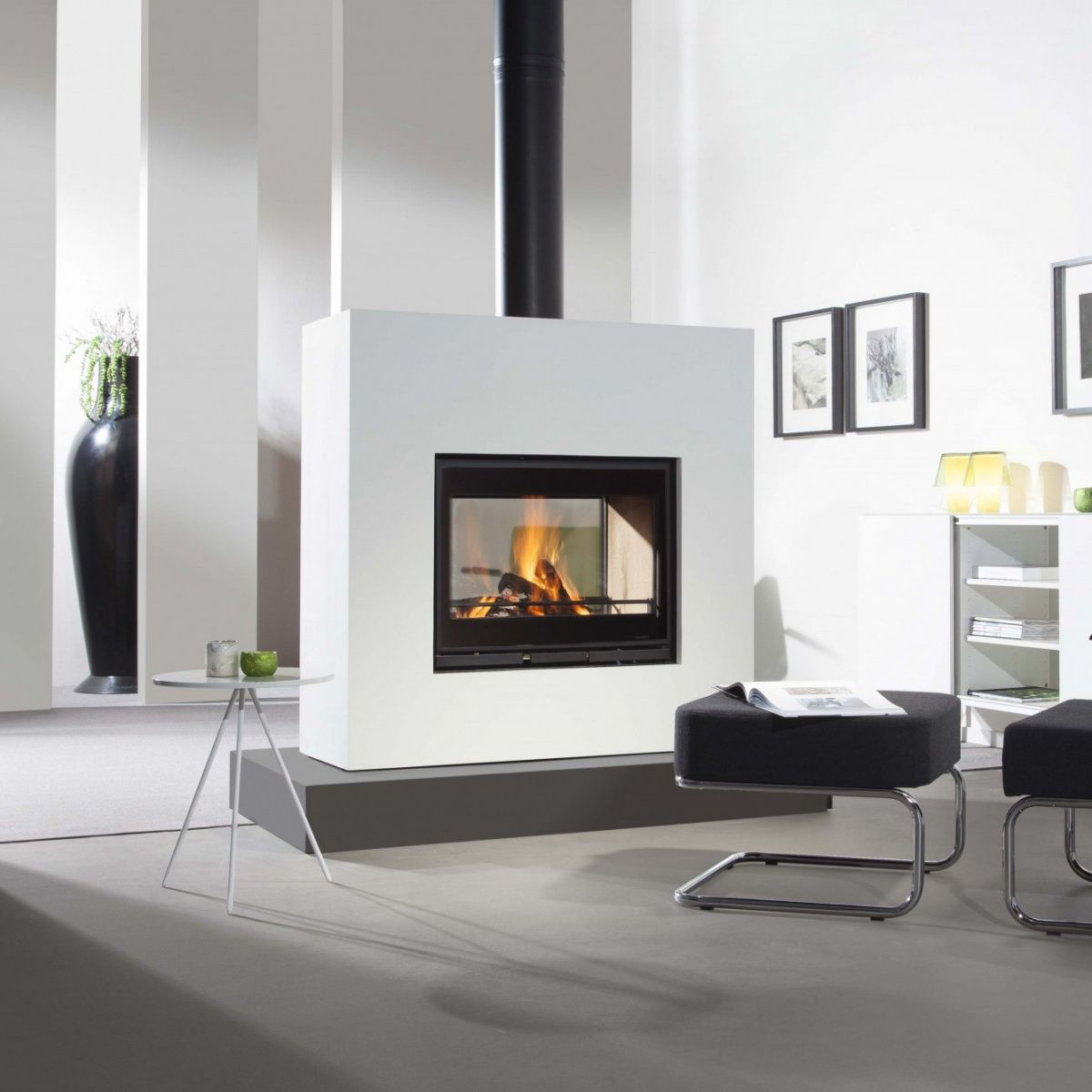 Ideal Wood-burning fireplace / contemporary / closed hearth / double  XH45