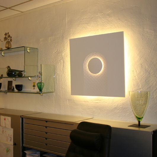Contemporary wall light / plaster / fluorescent / square - WALLPAPER ...