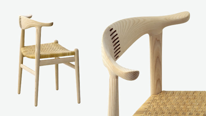 Contemporary Chair / Wooden / By Hans J. Wegner   THE COW HORN PP505
