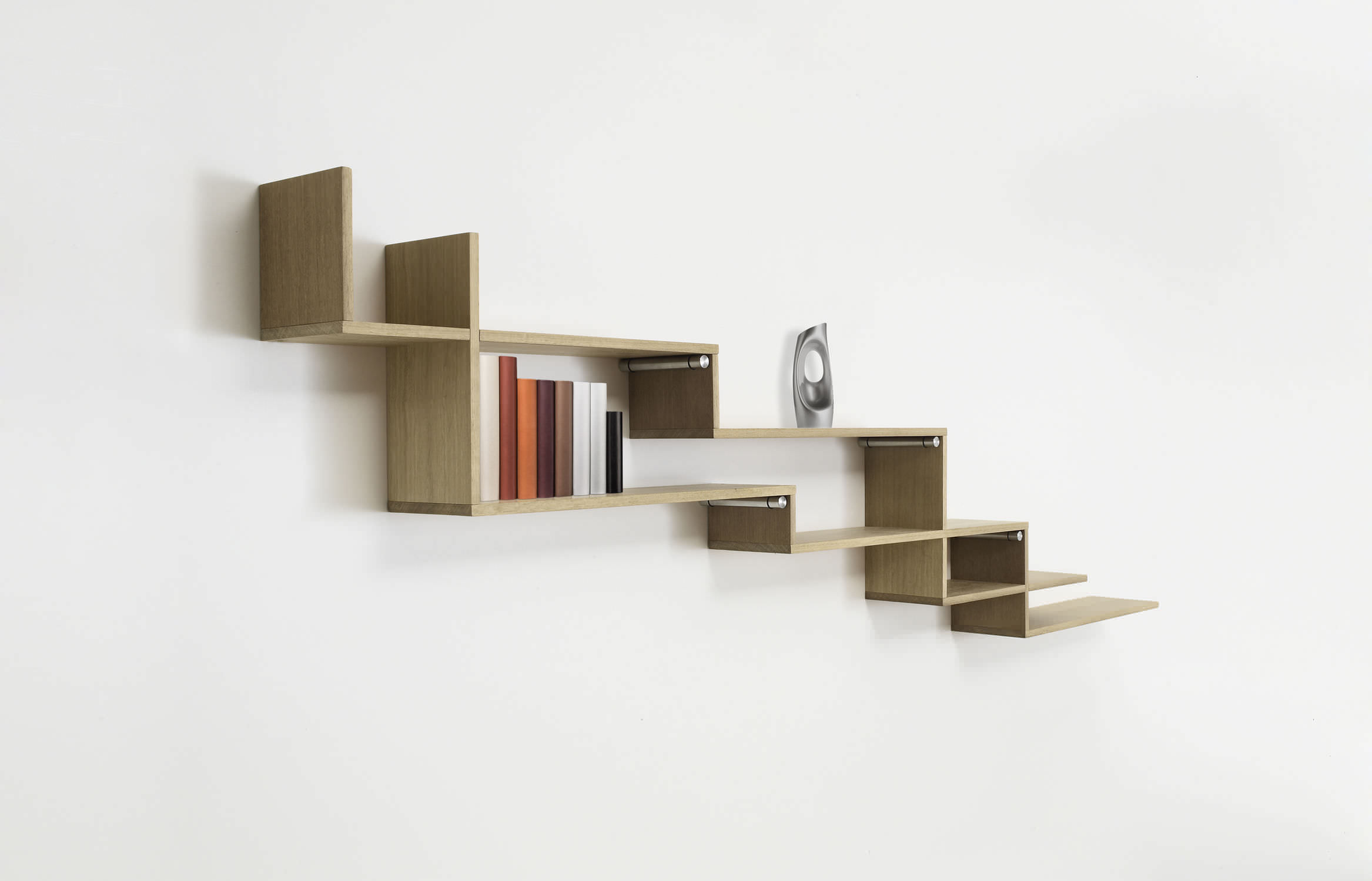 Wall Mounted Shelf Modular Contemporary Wooden Steps
