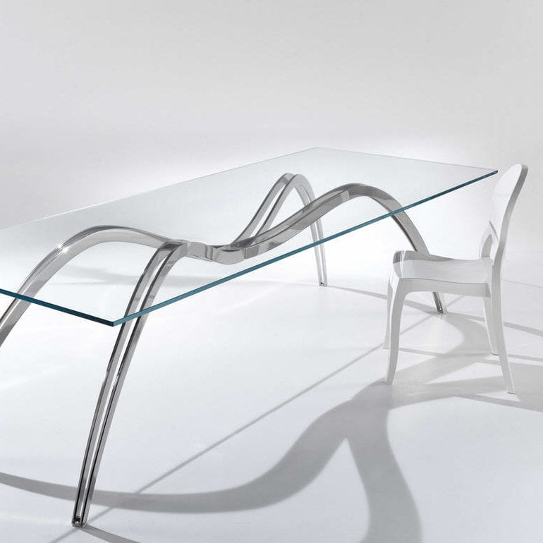Original Design Dining Table / Glass / Stainless Steel / Rectangular    SPIDER SKELETON   LIMITED EDITION OF 15