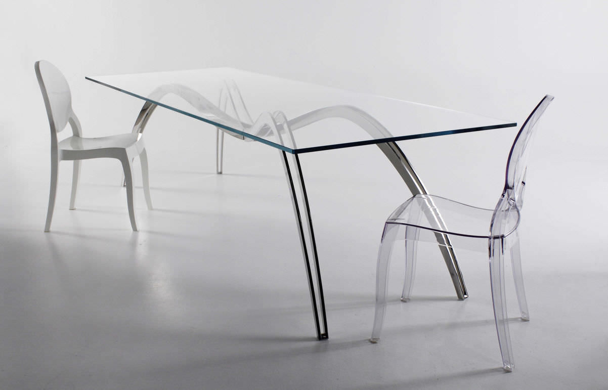 ... Original Design Dining Table / Glass / Stainless Steel / Rectangular ...