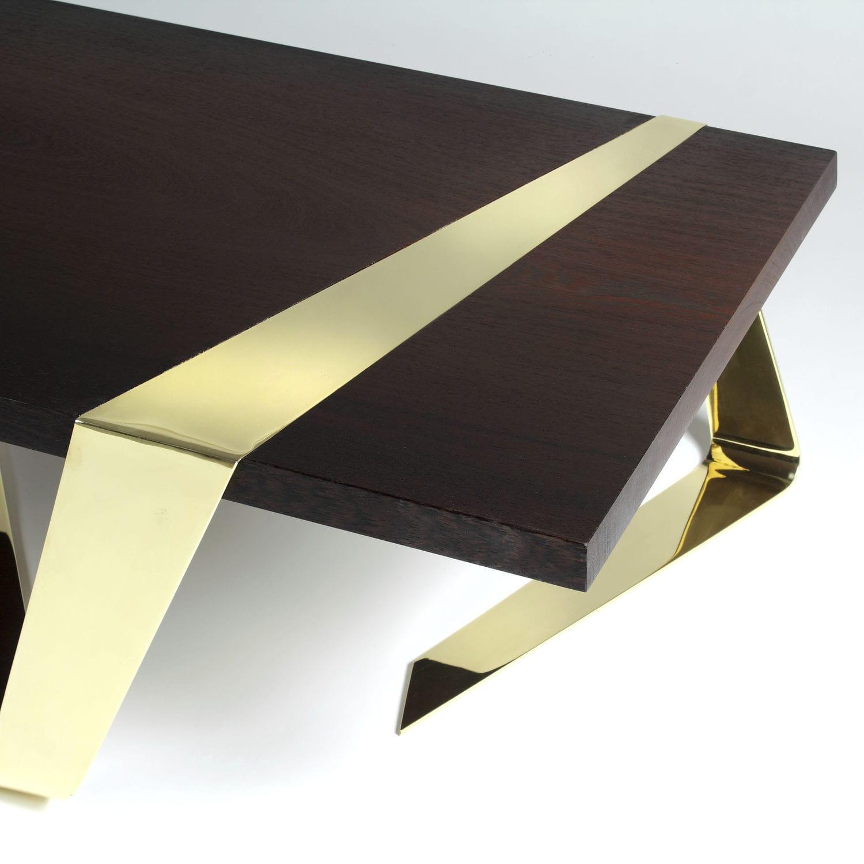 Original design coffee table wenge brass polished brass