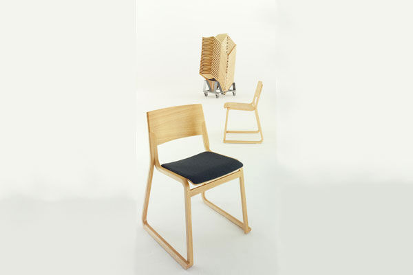 ... Contemporary Chair / Stackable / Sled Base / Beech THEO By Simon  Pengelly Chorus Furniture ...