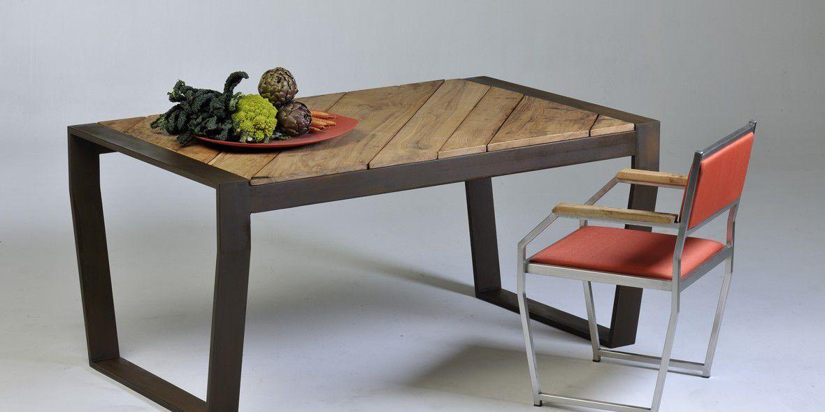 Contemporary Dining Table / Ipe / COR TEN® Steel / Powder Coated Steel    OSCAR MOUNTAIN By Villa Michele