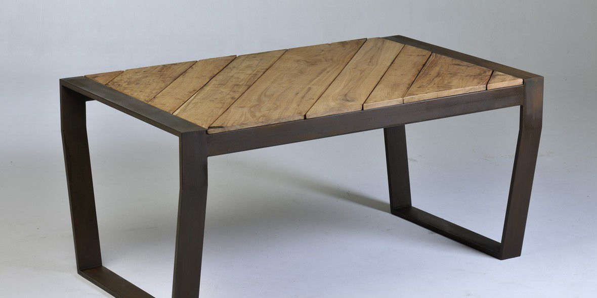 Contemporary Dining Table / Ipe / COR TEN® Steel / Powder Coated Steel ...