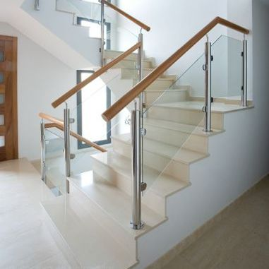 Stainless Steel Railing / Glass Panel / Indoor / For Stairs   MD. PIN 3