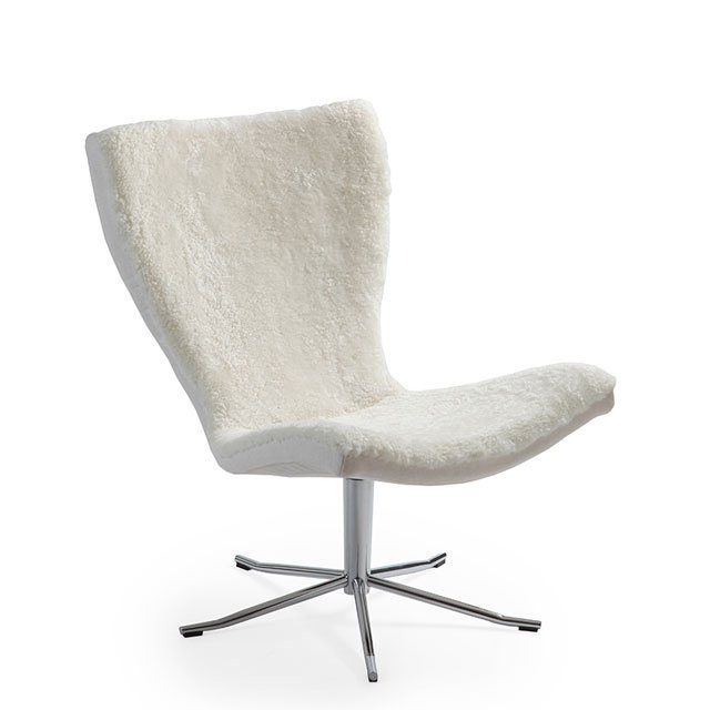 Contemporary fireside chair / fabric / leather / swivel - GYRO by ...