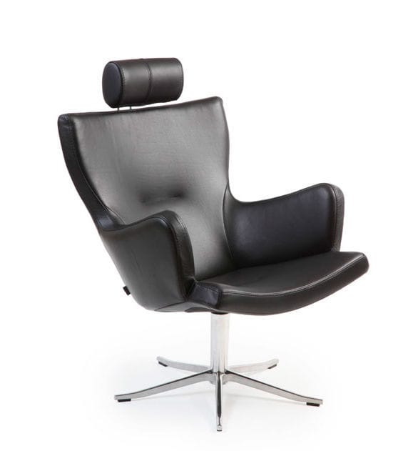 Contemporary armchair / fabric / leather / swivel - GYRO by Jan ...