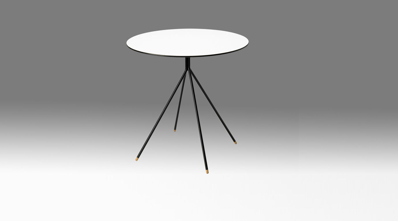 Contemporary Side Table Stainless Steel Round Black SINGLE - Stain steel table