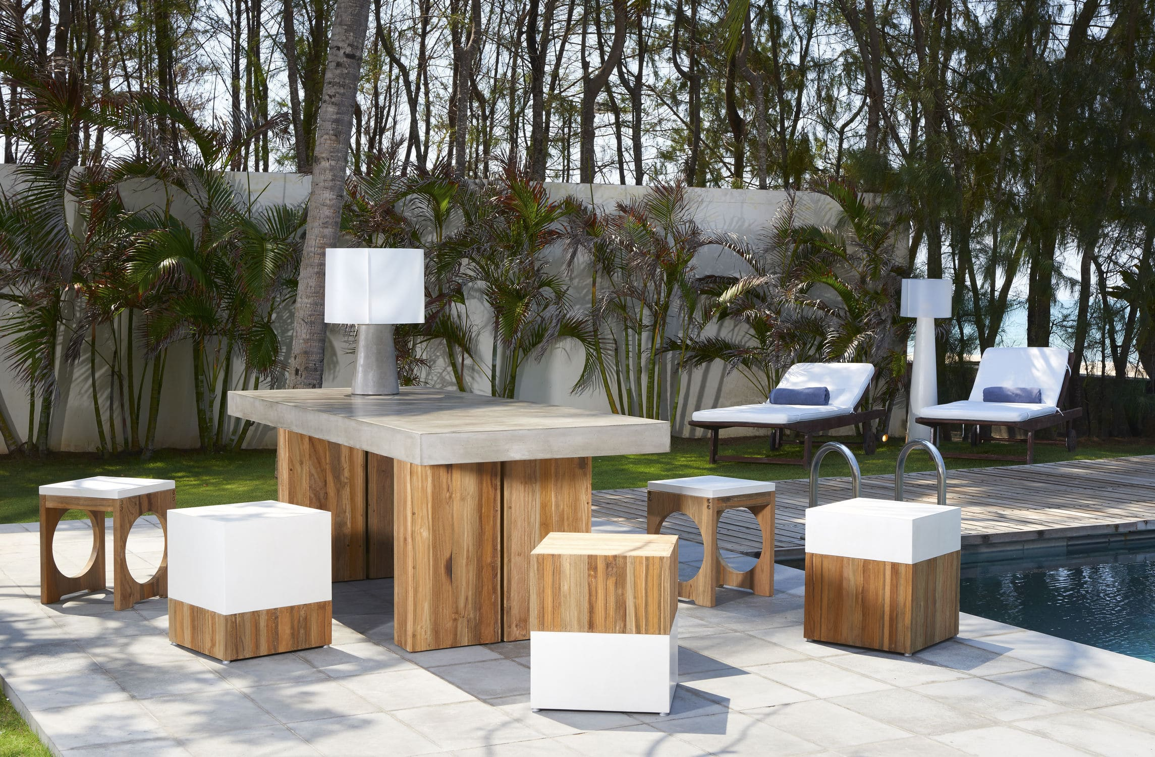 High Quality ... Contemporary Bench And Table Set / Teak / Concrete / Outdoor ...