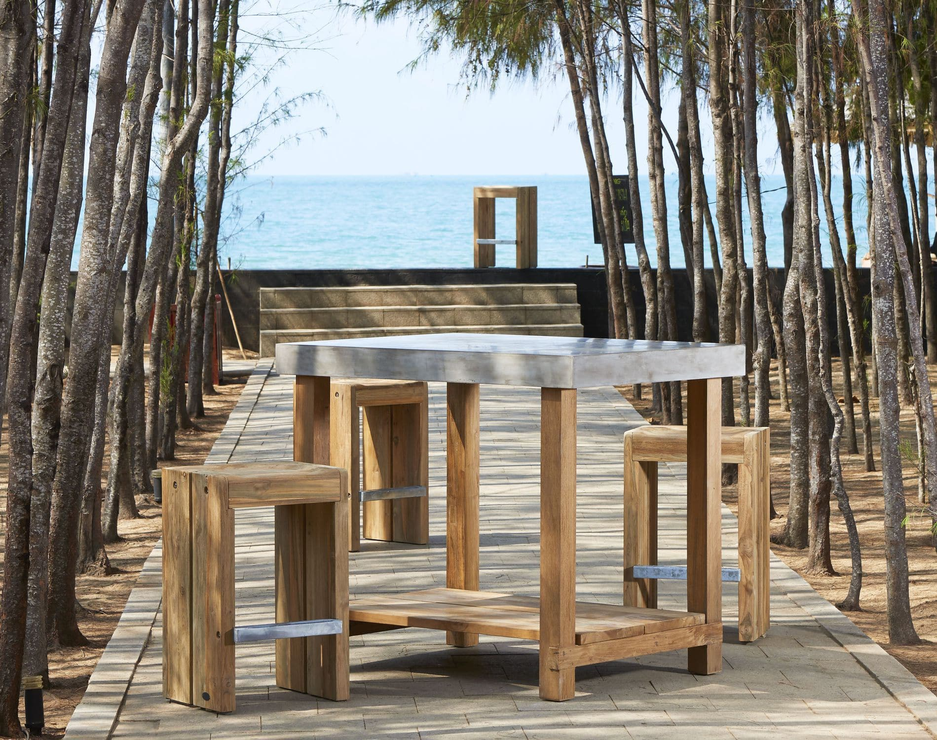 concrete and wood furniture. Contemporary High Bar Table / Teak Solid Wood Concrete - PROVENCE And Furniture