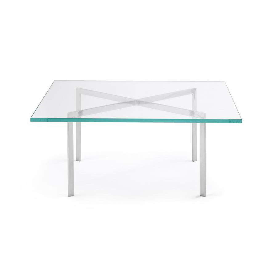 Bauhaus Design Coffee Table Glass Chromed Metal Square Barcelona