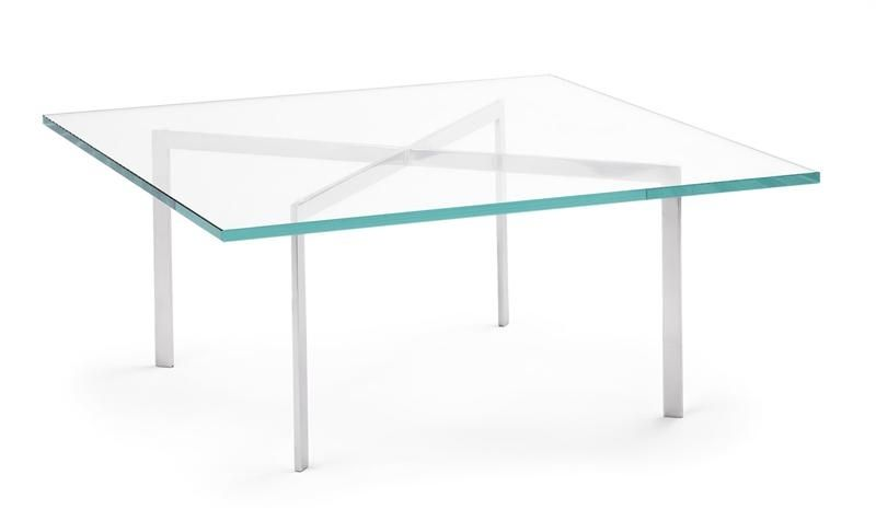 bauhaus design coffee table / glass / chromed metal / square