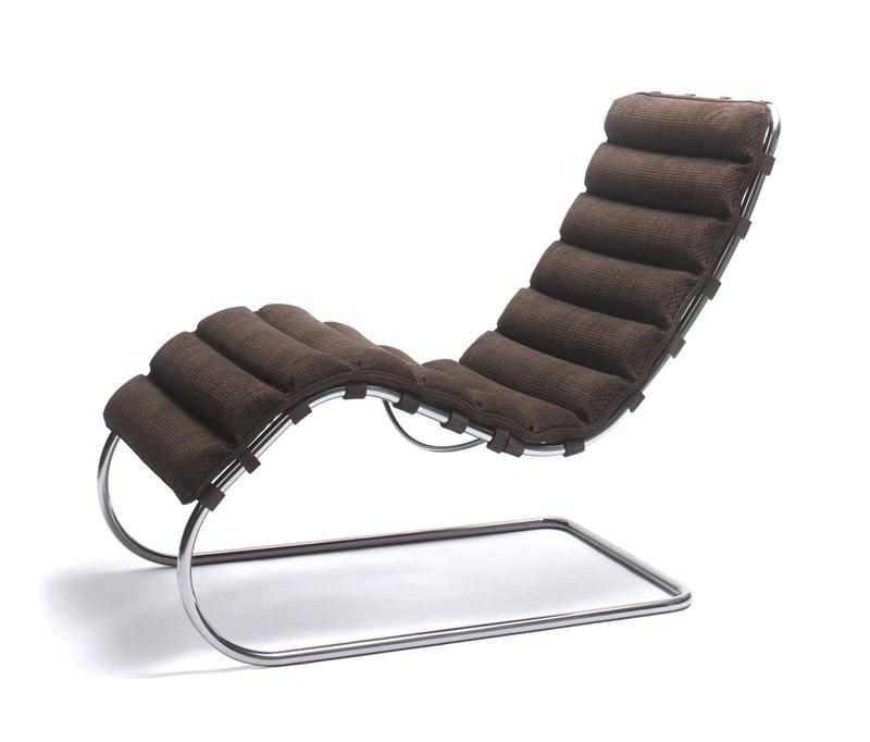 Chaiselongue design  Bauhaus design chaise longue / leather / steel / by Ludwig Mies ...