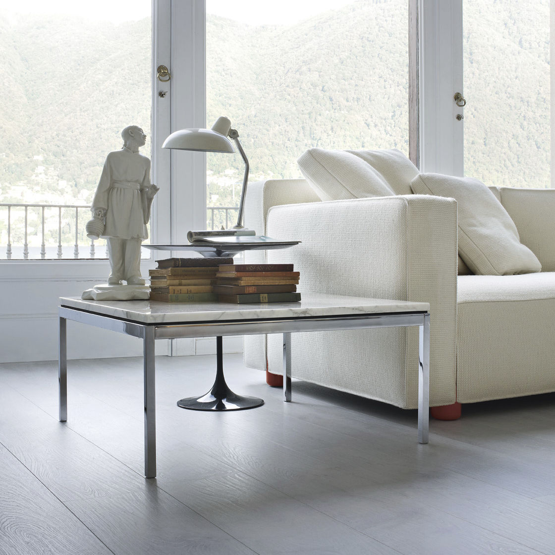Contemporary coffee table glass steel marble Knoll