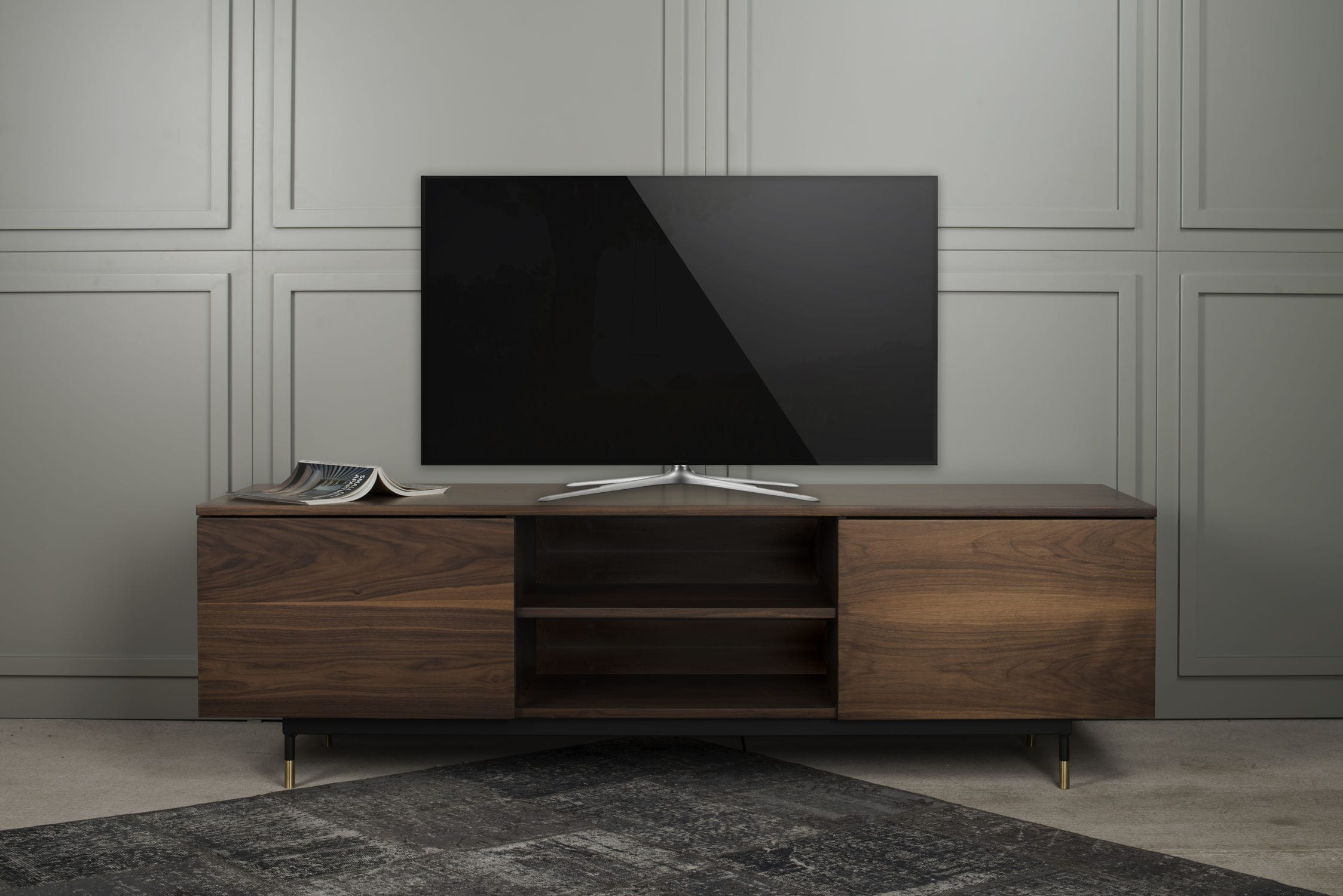 Contemporary TV Cabinet / Lowboard / Walnut / Marble   THIN