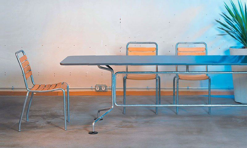 Contemporary table / sheet steel / galvanized steel ...