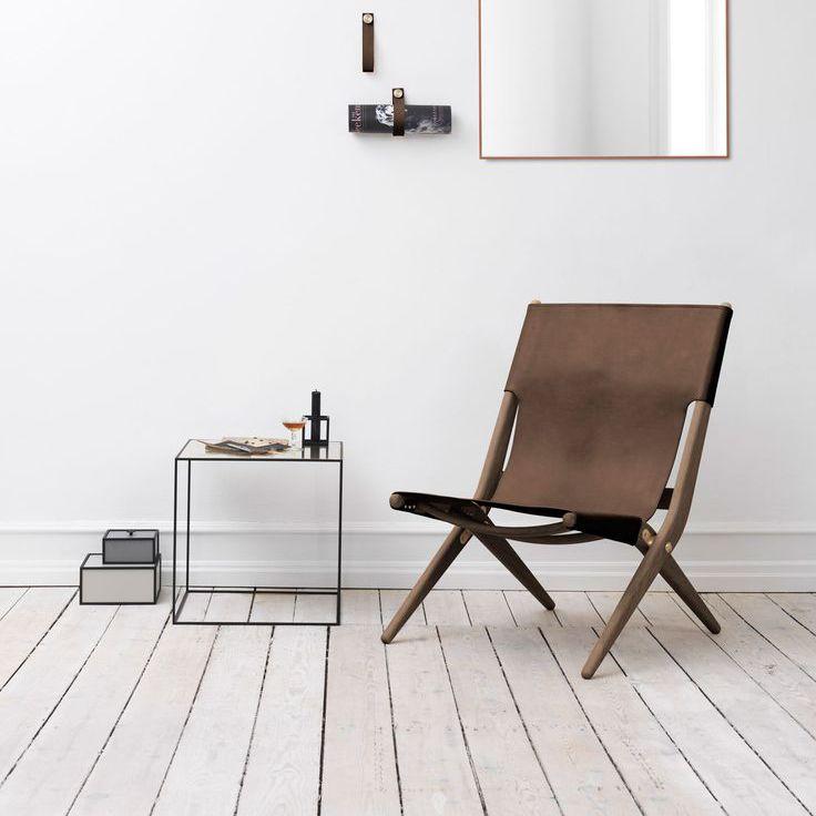 Scandinavian Design Chair Folding Oak Leather Saxe
