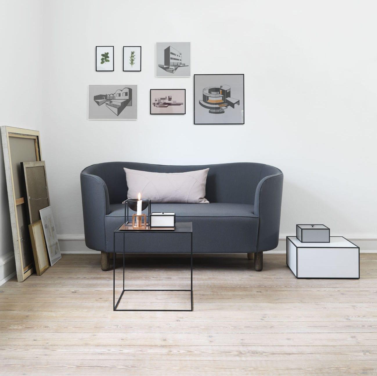 Scandinavian Design Sofa Fabric 3 Seater Gray Mingle