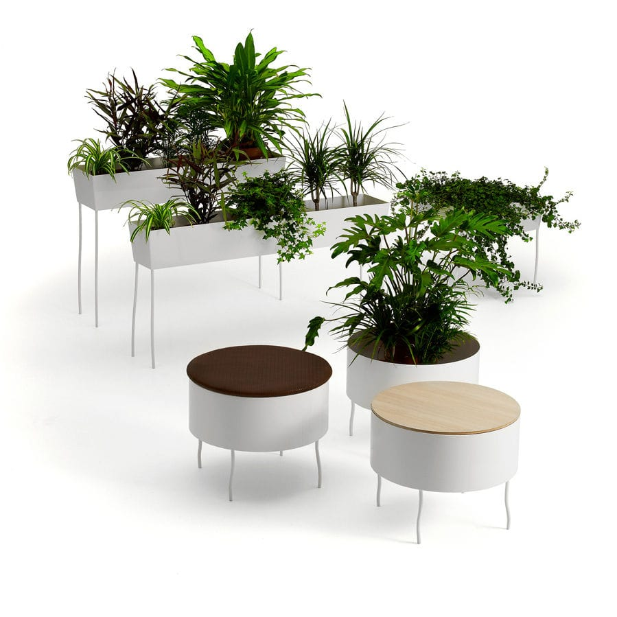 eco friendly multifunction seating. Metal Garden Pot / Round - GREEN PEDESTALS By Front Eco Friendly Multifunction Seating