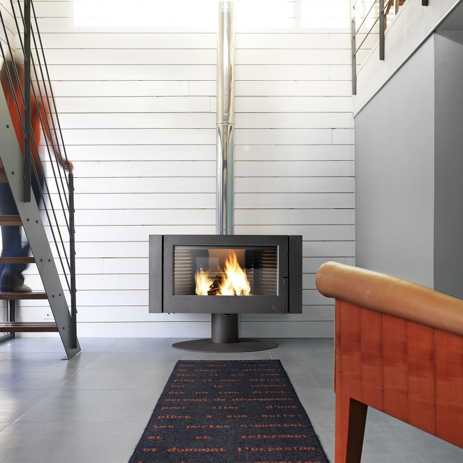 Wood heating stove / contemporary / metal - ANTAYA by B. Dequet ...