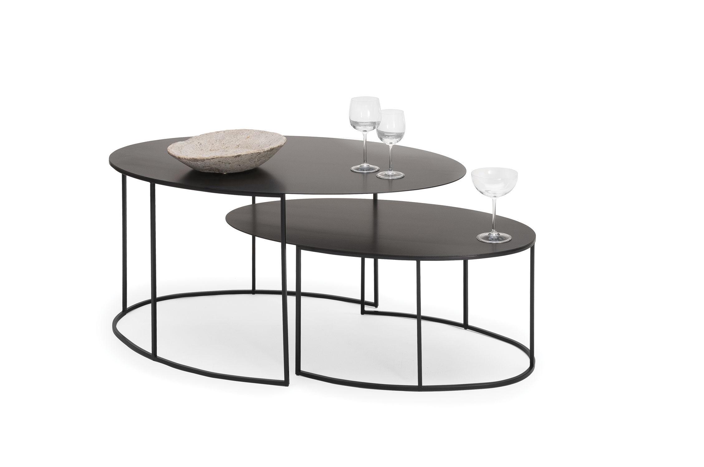Delightful Contemporary Nesting Tables / Copper / Oval   SLIM IRONY By Maurizio  Peregalli