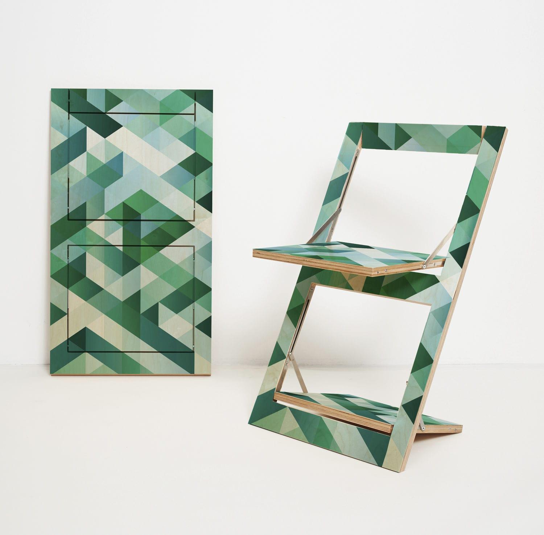 Klappstuhl design  Design chair / folding / birch / lacquered wood - FLÄPPS PRINTED ...