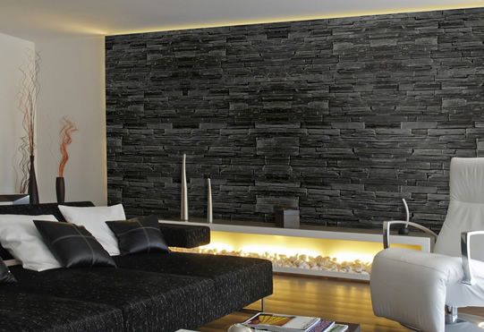 Decorative wall cladding panel / natural stone / slate / quartz - CG ...