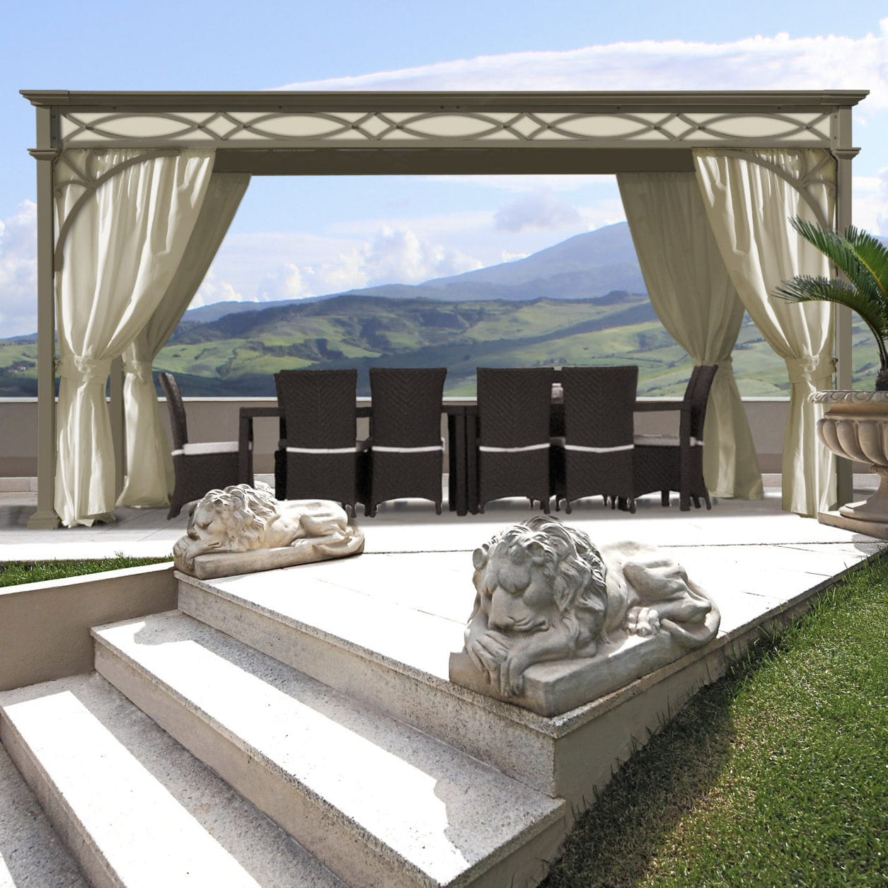 Wrought Iron Gazebo / Fabric Roof / Commercial / For Hotels   LUXURY HOME