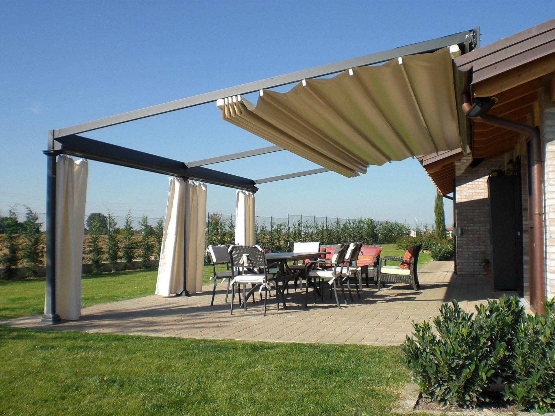 ... Wall-mounted pergola / wrought iron / PVC fabric sliding canopy / custom ELETTRA UNOSIDER & Wall-mounted pergola / wrought iron / PVC fabric sliding canopy ...