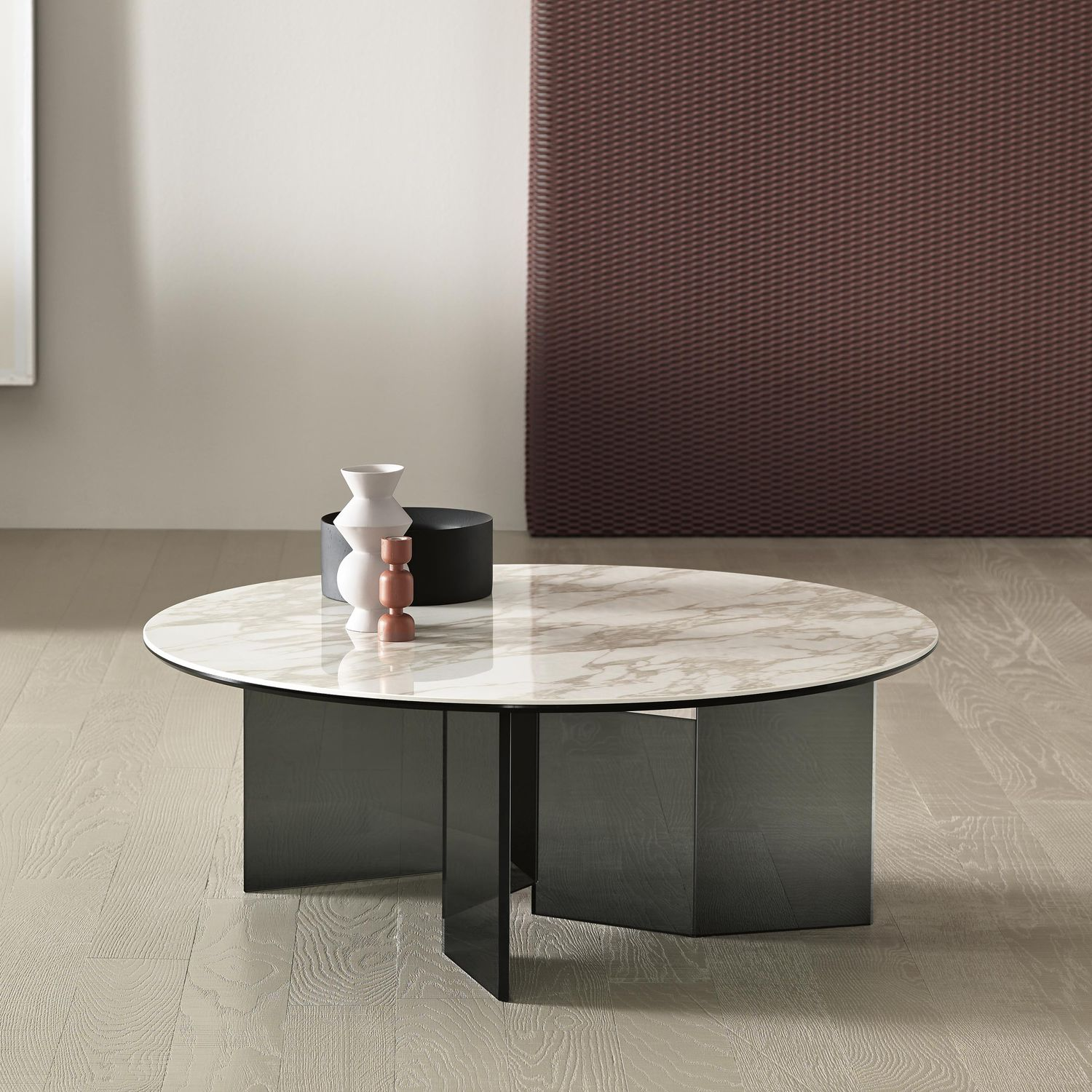 Contemporary coffee table glass bronze marble METROPOLIS