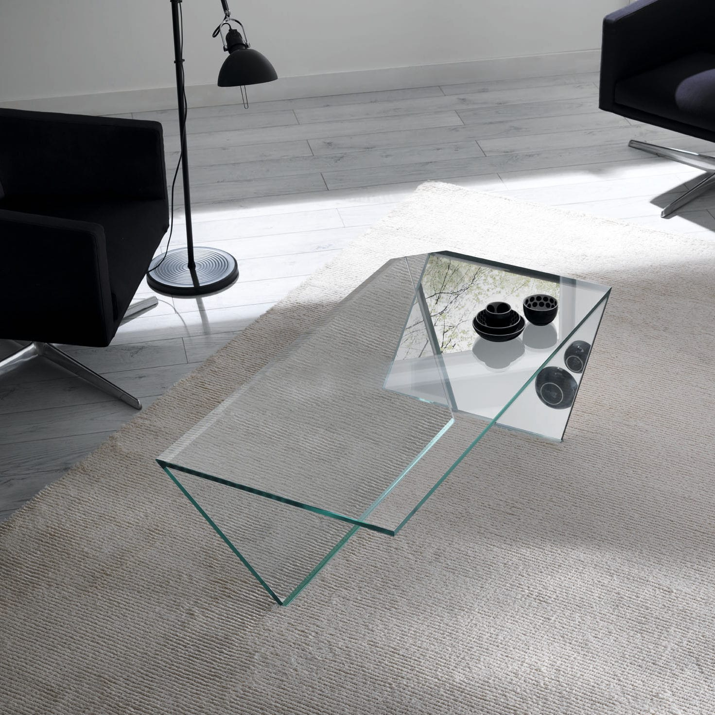 Contemporary coffee table glass rectangular 100% recyclable