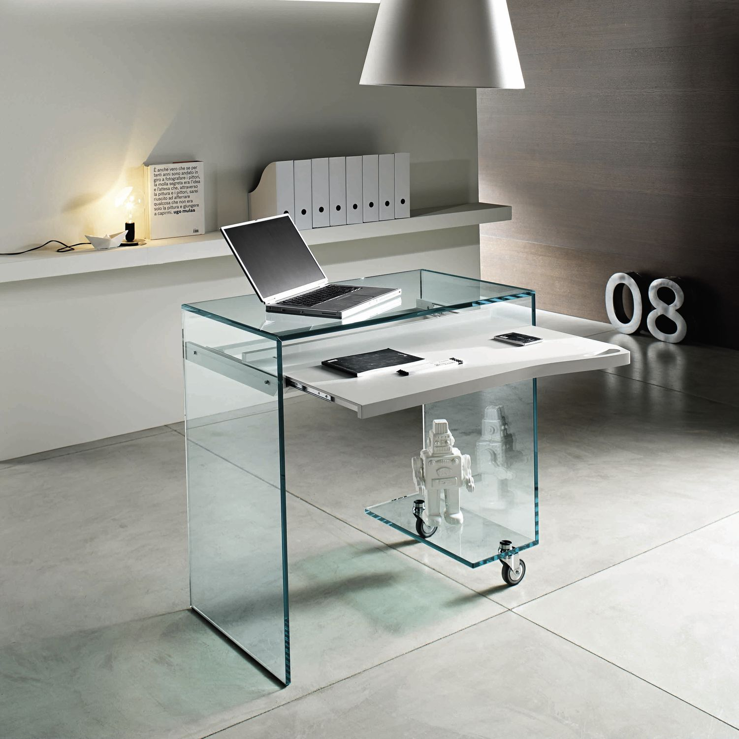Contemporary Computer Table Glass Rectangular Commercial Work Box By Marco Gaudenzi
