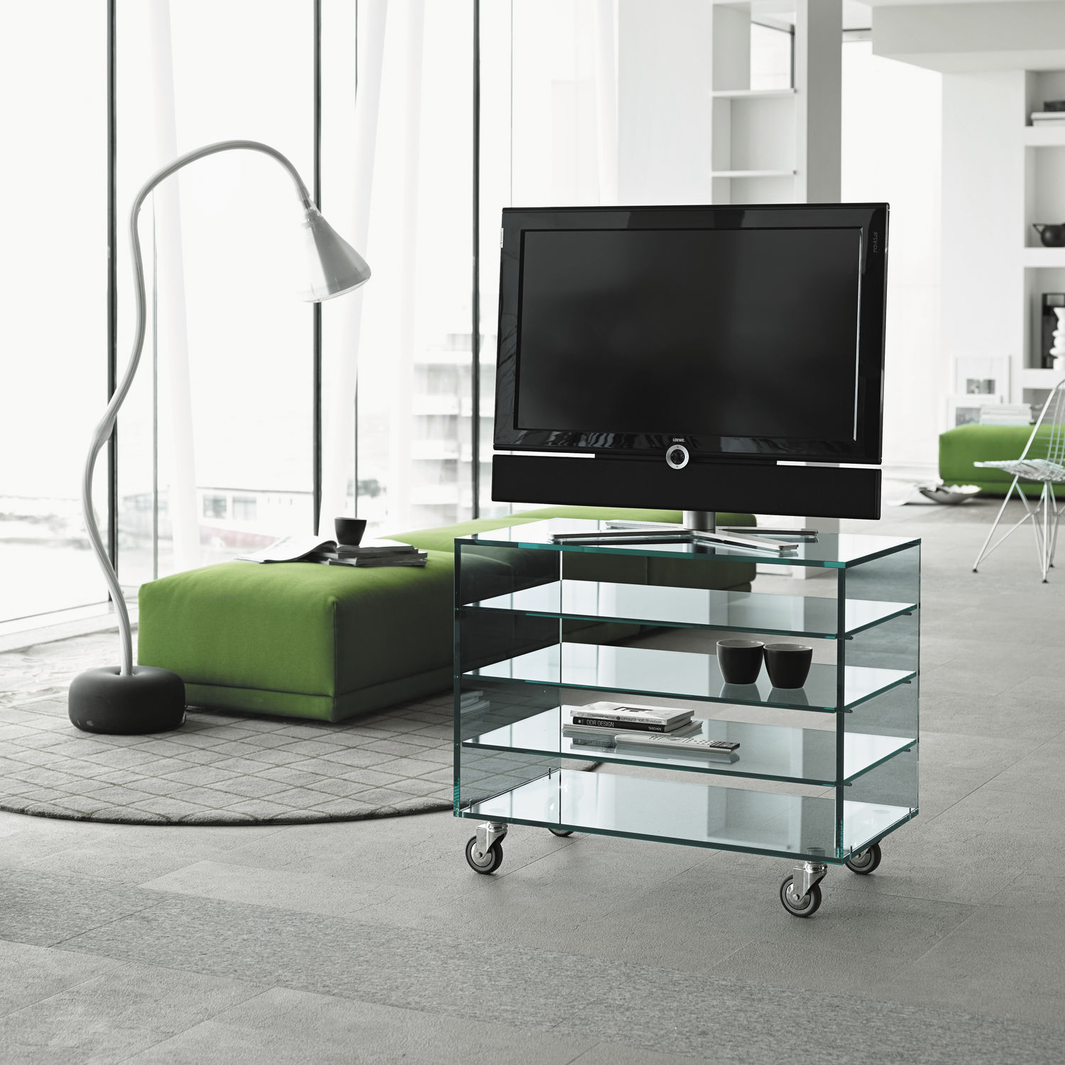 Contemporary Tv Cabinet On Casters Glass Grattacielo Fix By  # Meuble Hifi Design