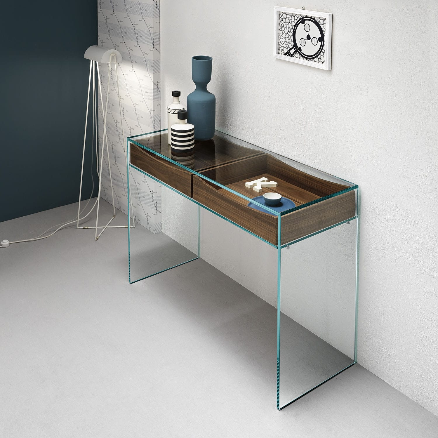 Contemporary Sideboard Table / Wooden / Glass / Rectangular   GULLIVER 2 By  M.U.