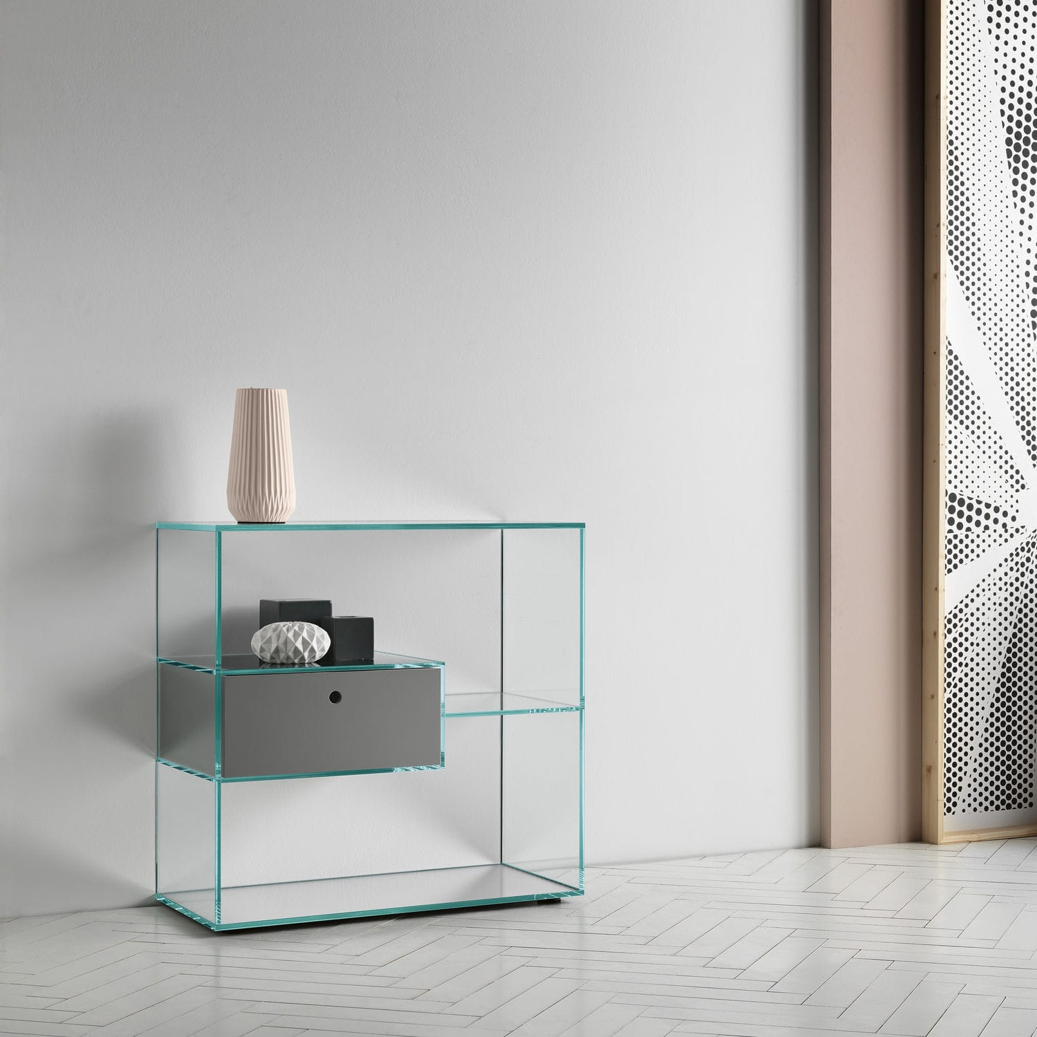 Contemporary Shelf Contemporary Shelf Wooden Glass With Drawer Liber By Luca