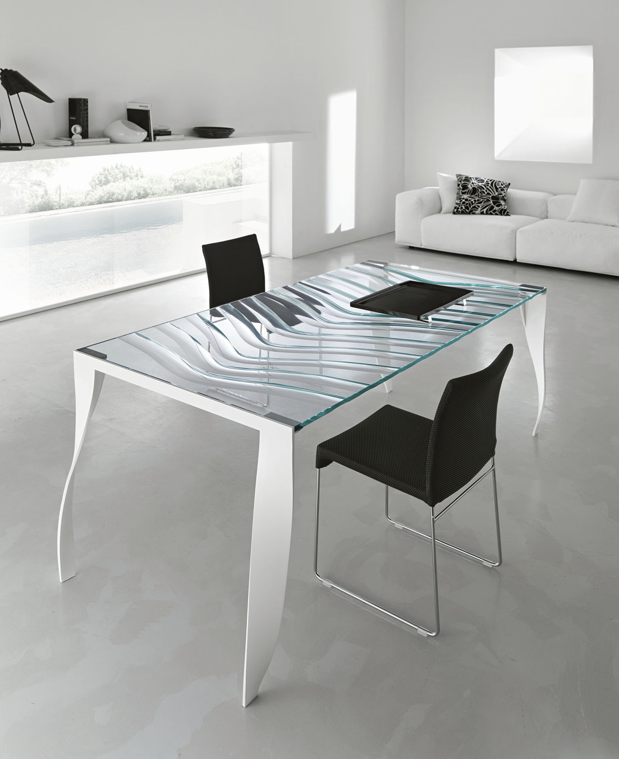 Contemporary dining table glass chromed metal rectangular