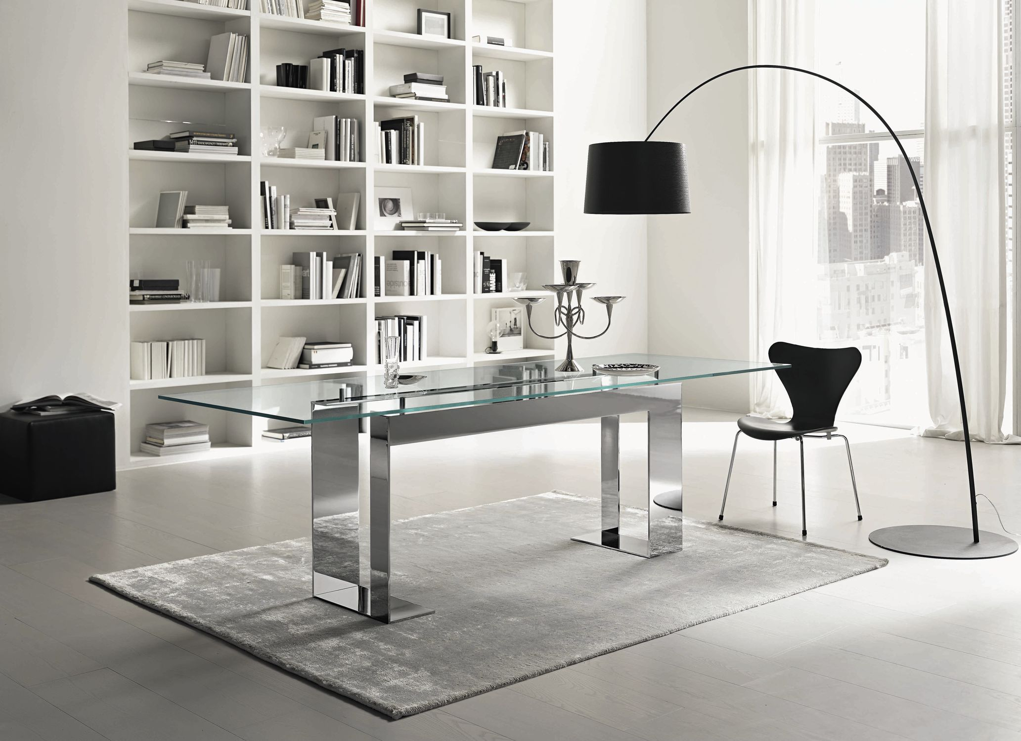 Contemporary Table Glass Chromed Metal Rectangular