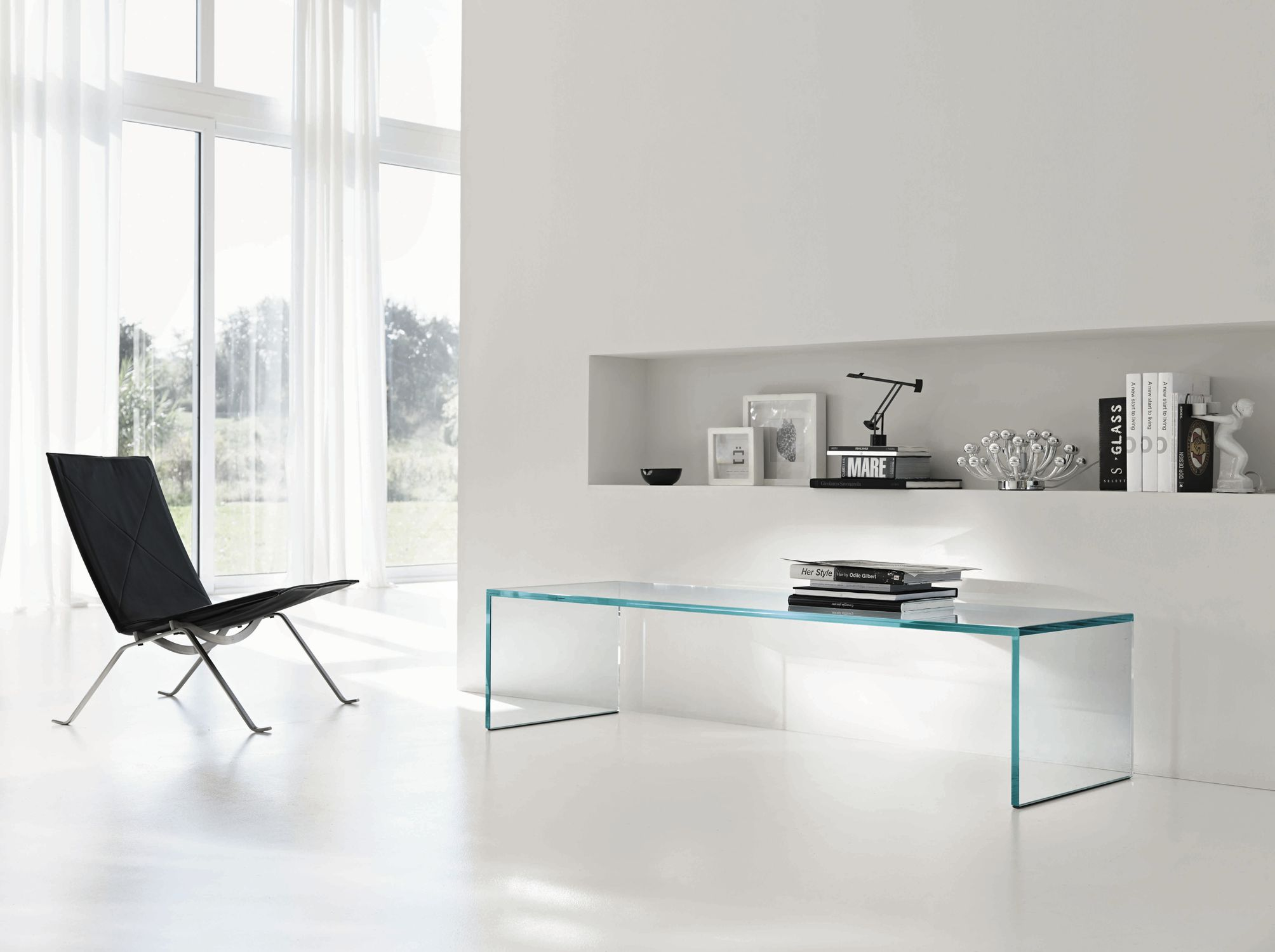 Exceptional Contemporary Coffee Table / Glass / Rectangular / Transparent CAPO HORN By  M.U. TONELLI Design ...