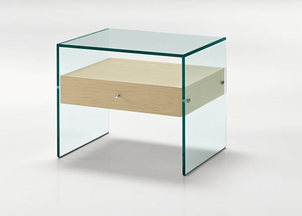 Contemporary bedside table / walnut / lacquered wood / glass ...
