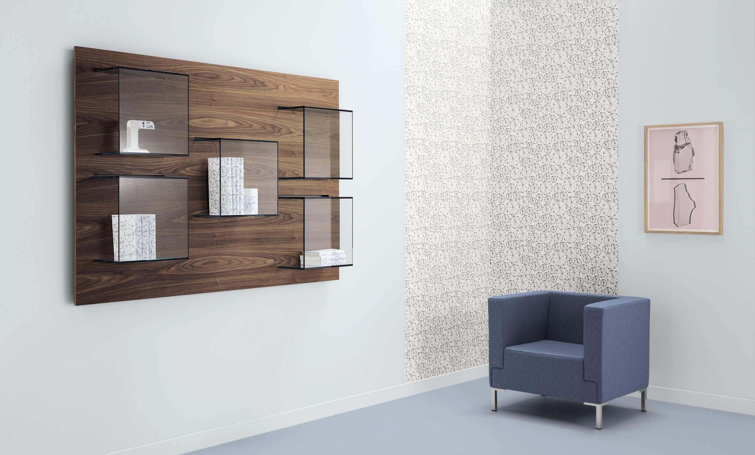 Wallmounted bookcase contemporary wooden glass DAZIBAO by