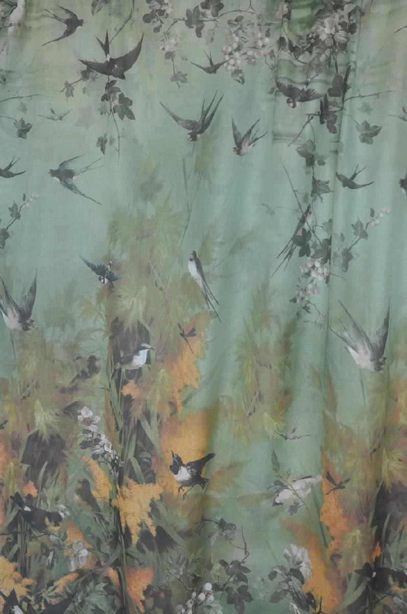 Sheer curtains with patterns - Nature Pattern Sheer Curtain Fabric Cotton Ca C Est Paris Saisons Lelievre